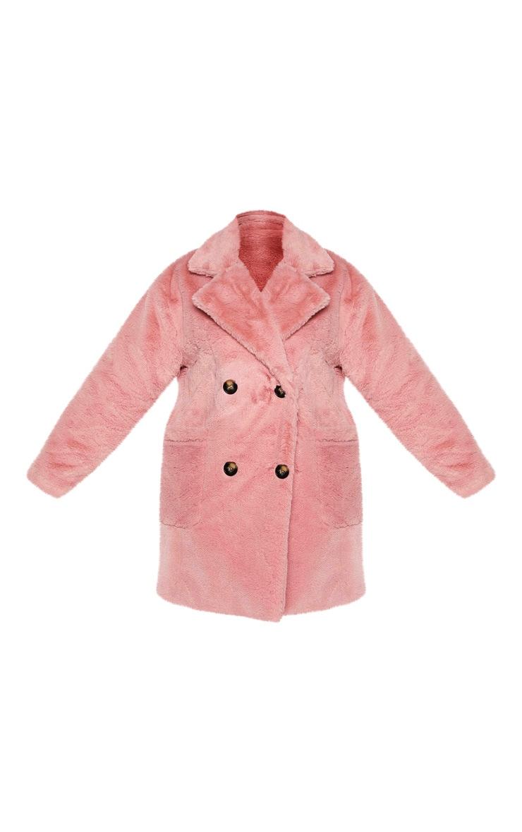 PLT Plus - Manteau croisé en fausse fourrure vieux rose 3