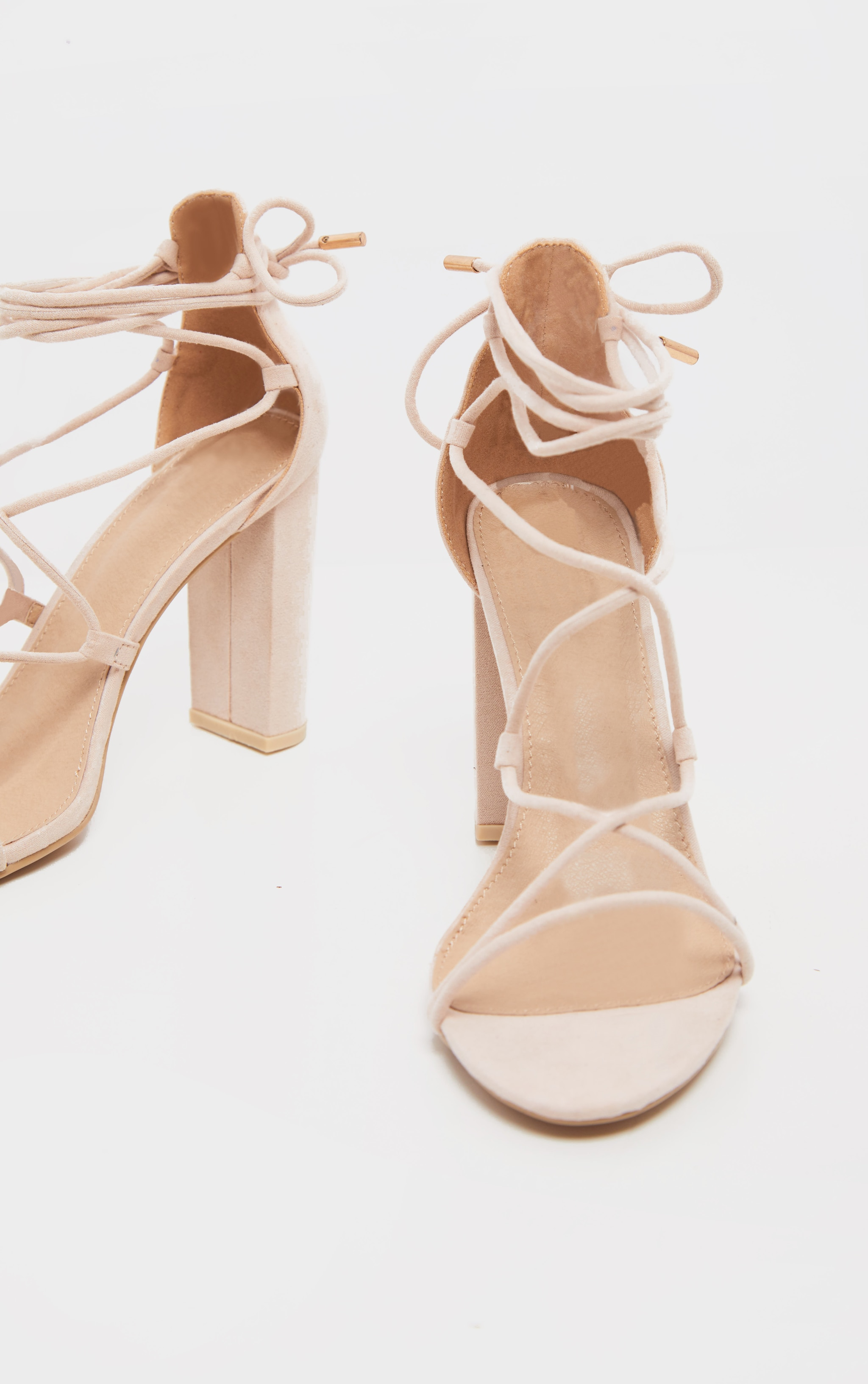 Nude Block Heel Ghillie Tie Up Sandal 4