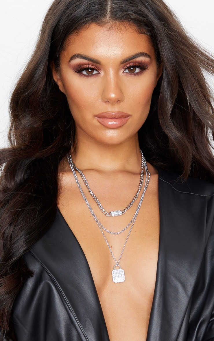 Clear Pave Tag Multi Layering Necklace 1