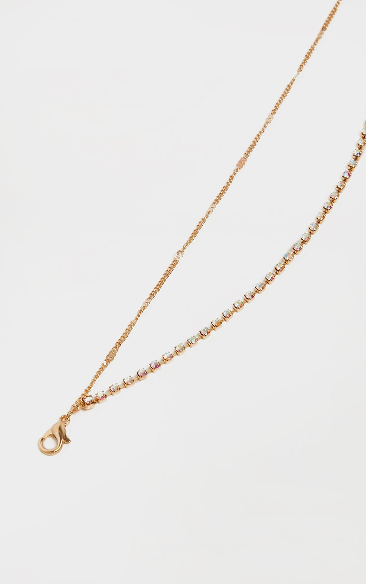 Gold Diamante Double Chain Anklet 5
