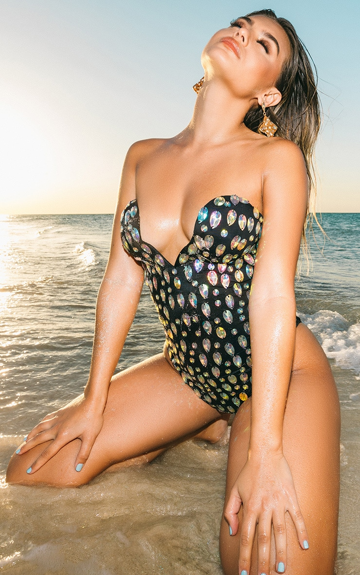 Premium Black Cupped Iridescent Jewelled Pool Party Costume 1