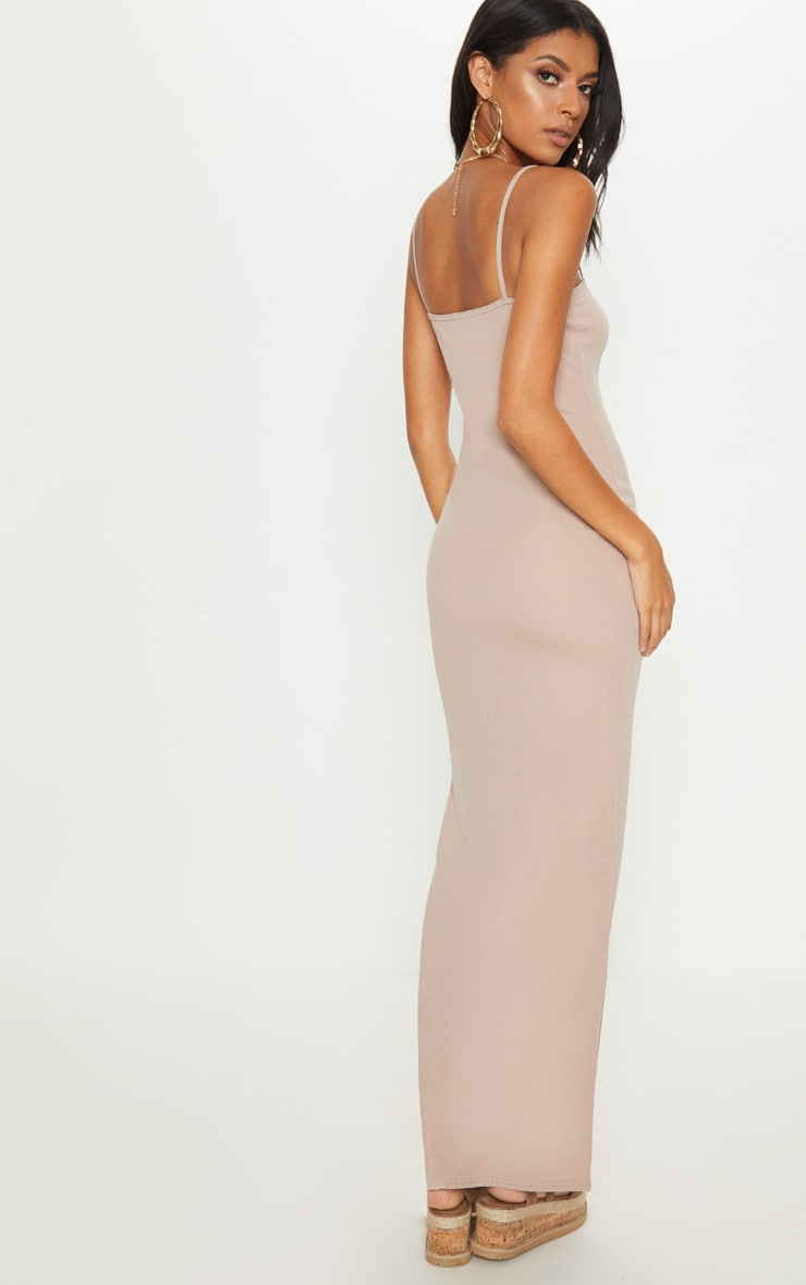 Stone Ribbed Tortiose Shell Button Maxi Split Front Dress 2