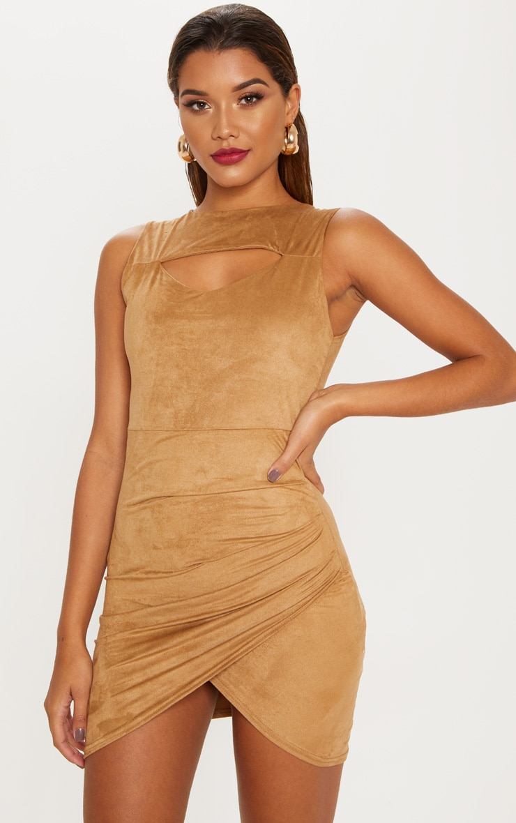 Tan Faux Suede Ruched Mini Dress