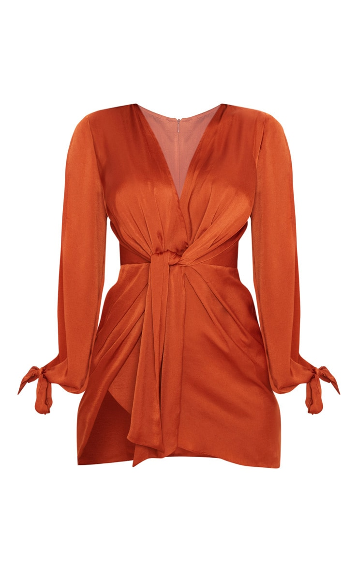 Rust Satin Twist Front Open Sleeve Wrap Dress 3