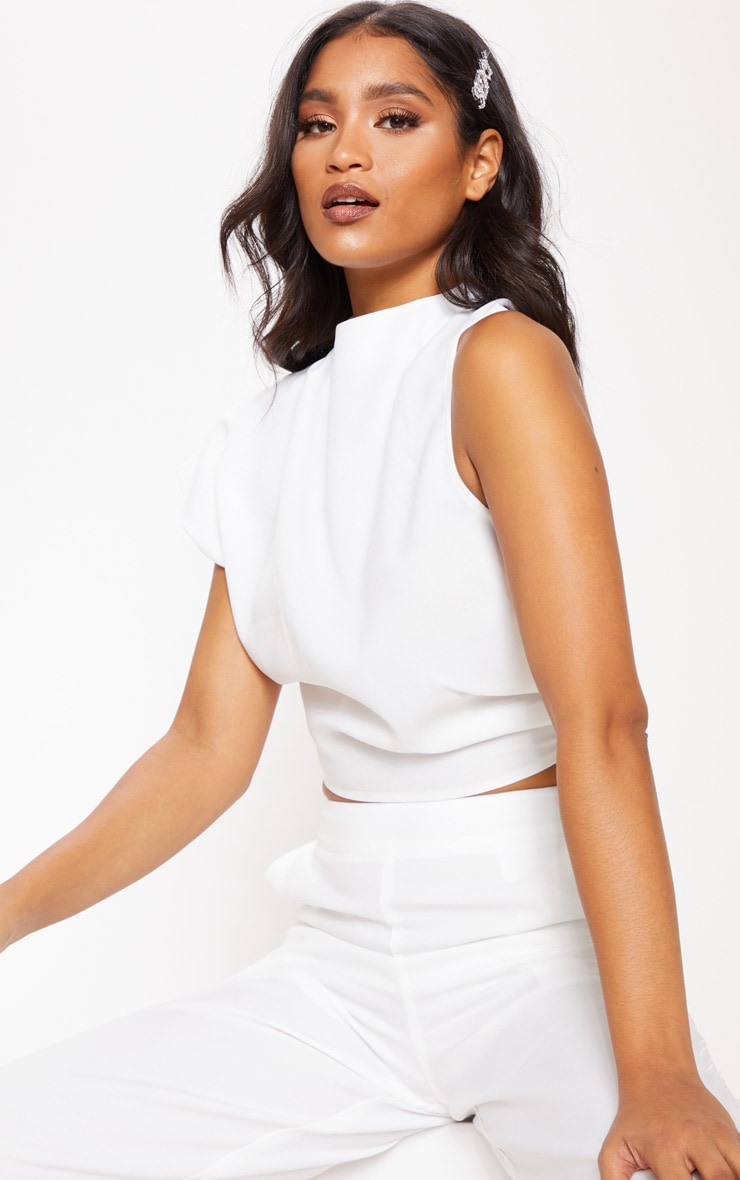 White High Neck One Shoulder Blouse 4
