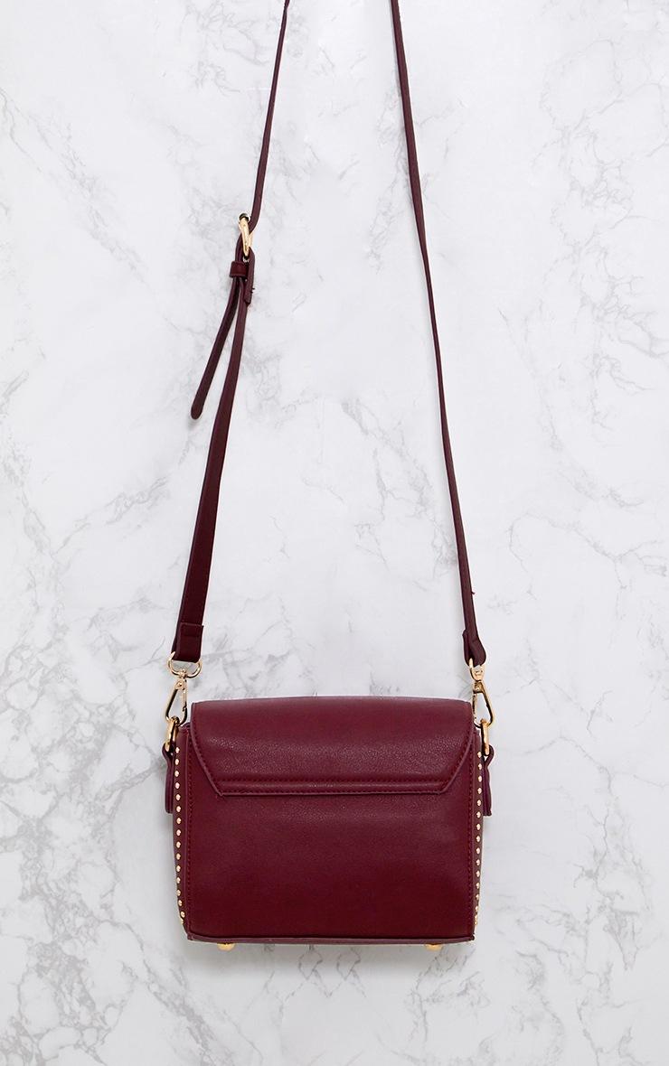 Burgundy Rose Embroidered Shoulder Bag 3