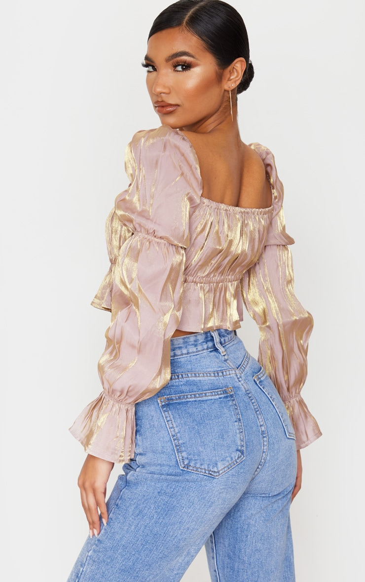 Nude Metallic Ruched Waist Cropped Blouse 2