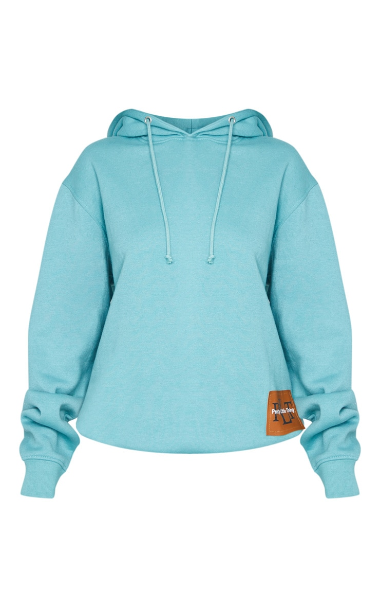 PRETTYLITTLETHING Turquoise Badge Oversized Hoodie 5
