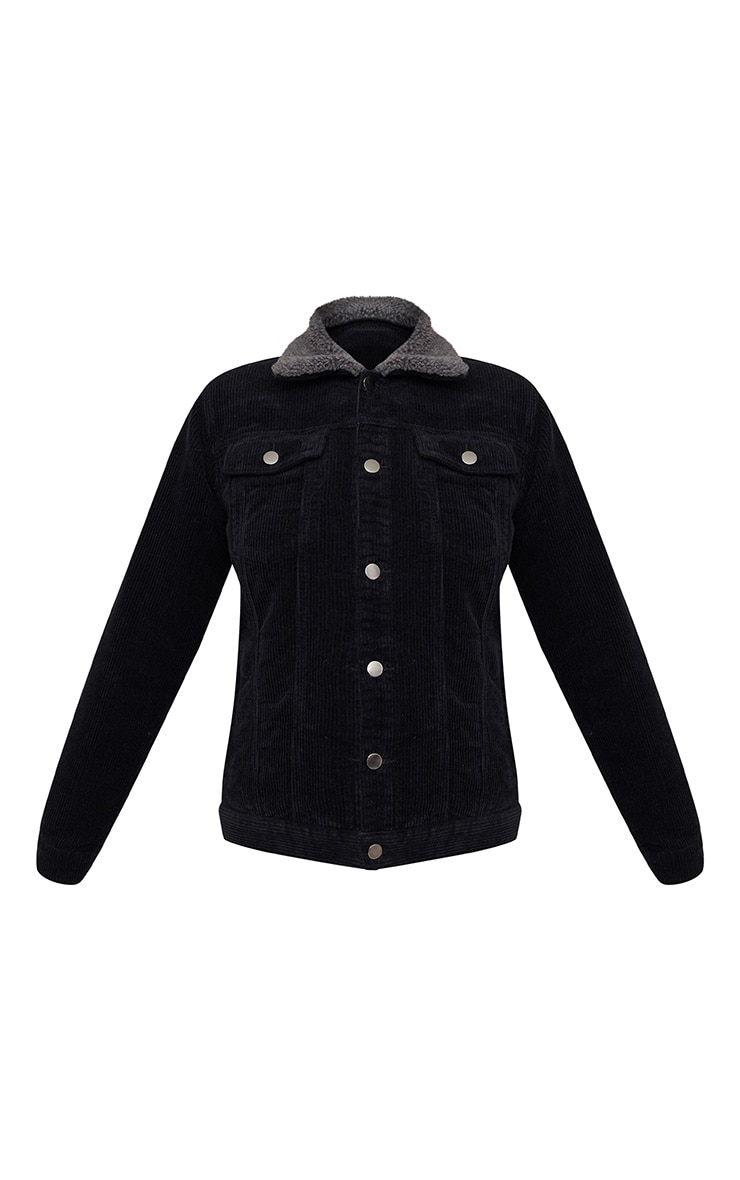 Black Faux Fur Collar Cord Jacket 3