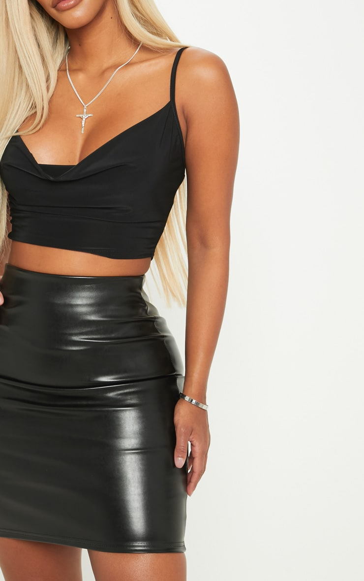 Shape Black Slinky Cowl Neck Crop Top 5