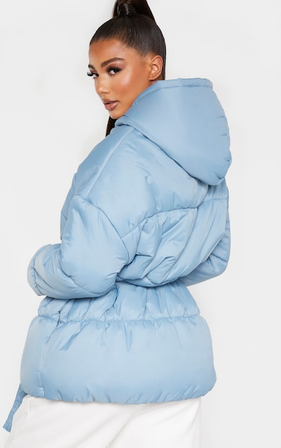 Baby Blue Hooded Midi Belted Puffer Jacket