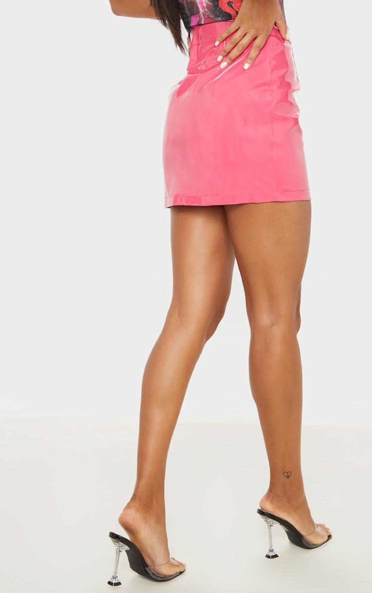 Hot Pink Vinyl Mini Skirt  4