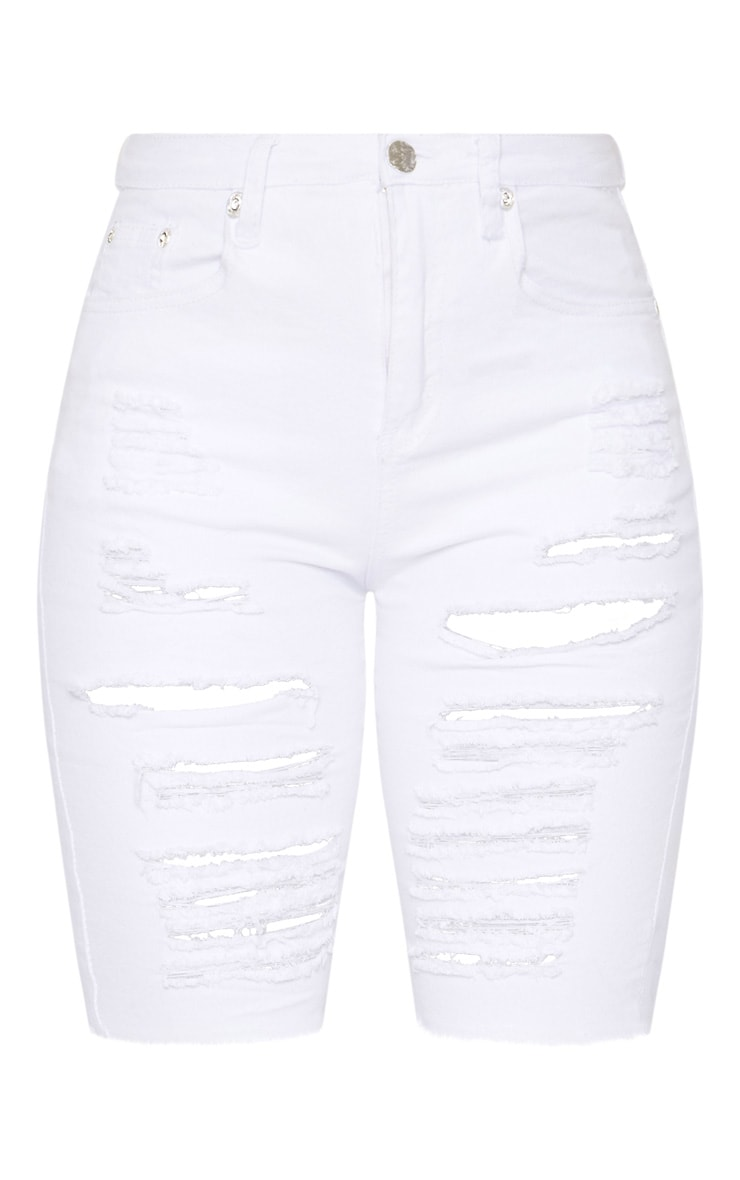 White Distressed Denim Bike Shorts 3
