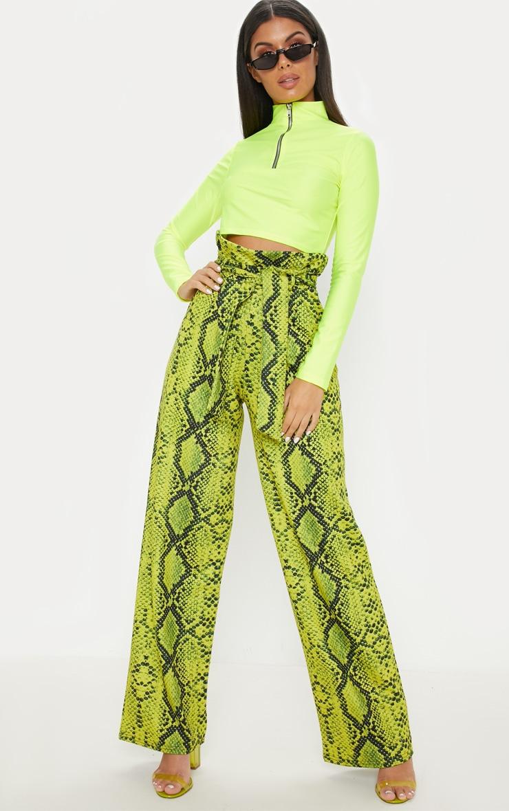 f1a8f8a1de8 Neon Yellow Snake Print Paperbag Wide Leg Trouser image 1