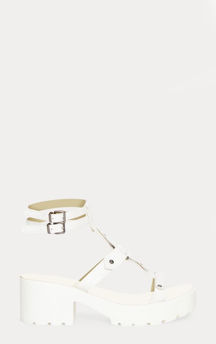 White Ring Detail Gladiator Chunky Sandal 3