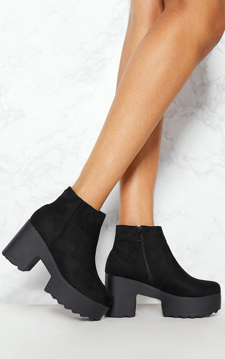 Black Chunky Platform Ankle Boot 1