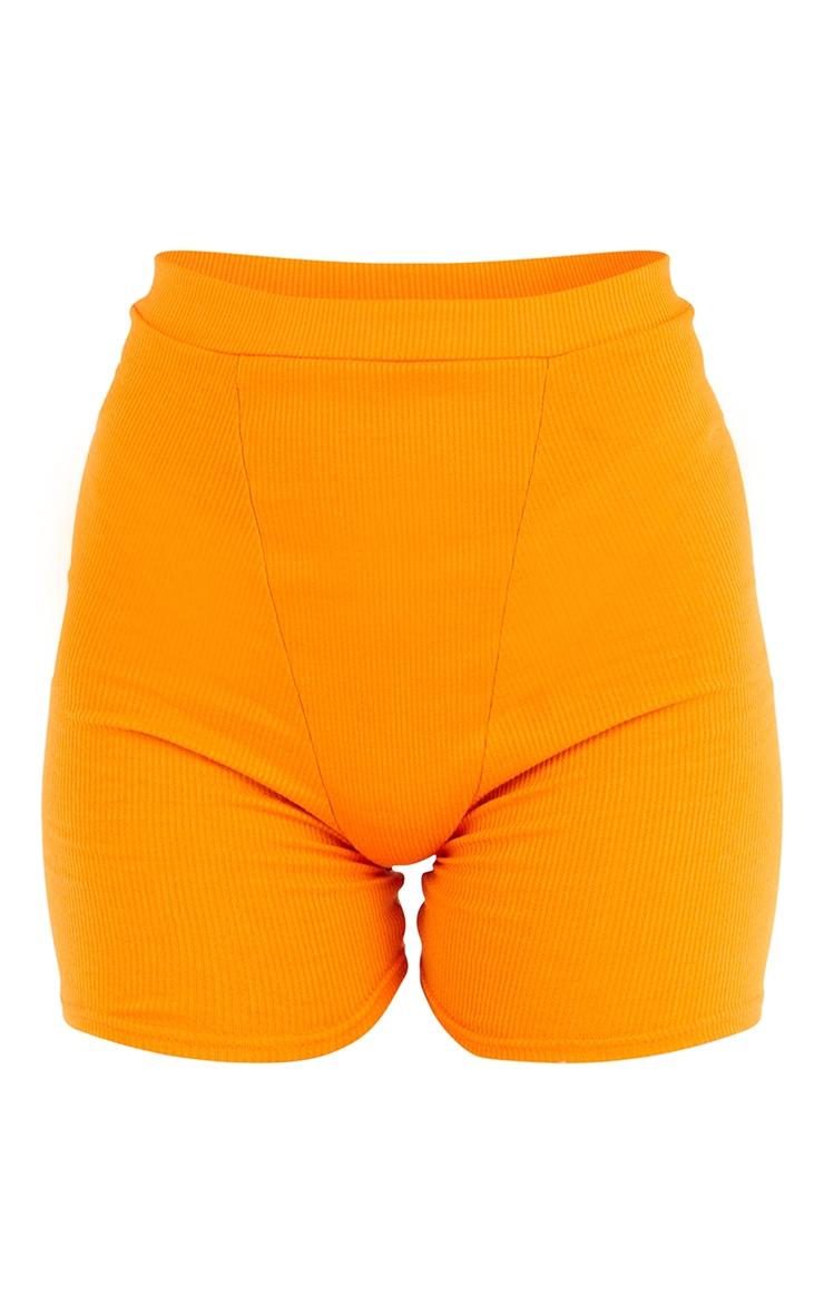 Bright Orange Ribbed Bike Shorts 6