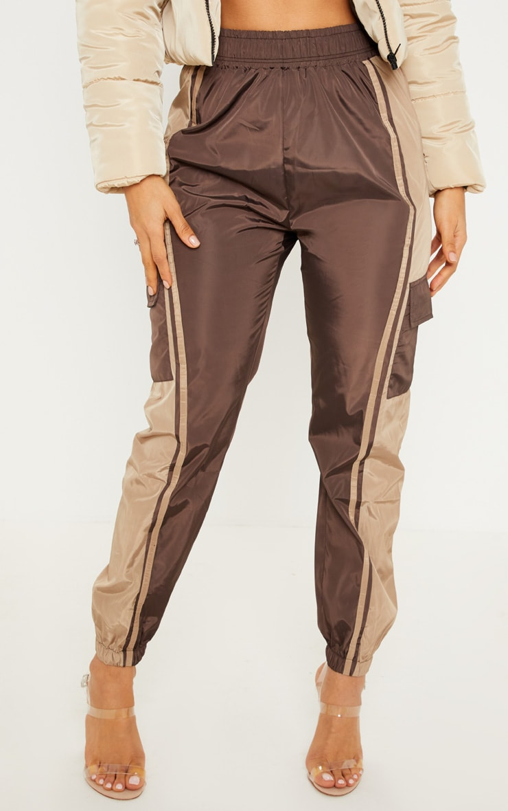 Chocolate Contrast Panel Pocket Shell Jogger 2