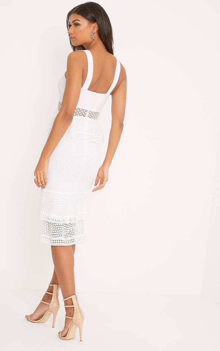 Rhea White Lace Up Frill Detail Midi Dress 2