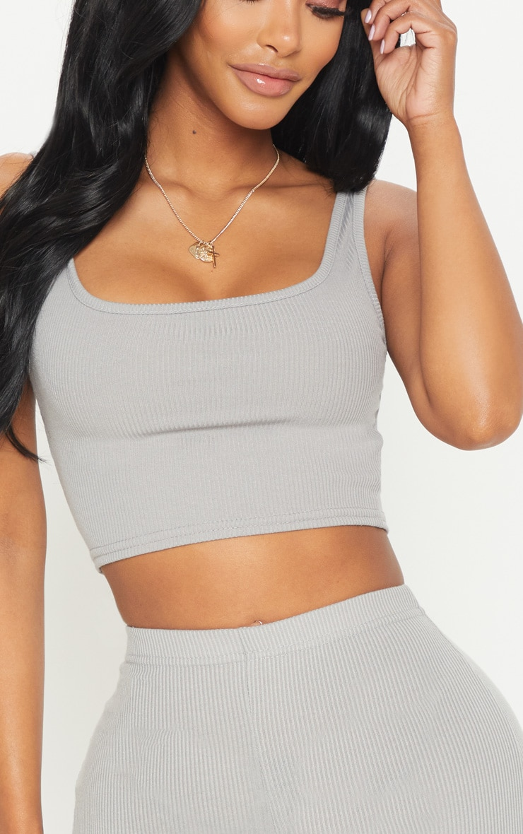 Shape Charcoal Ribbed Scoop Neck Crop Top  5