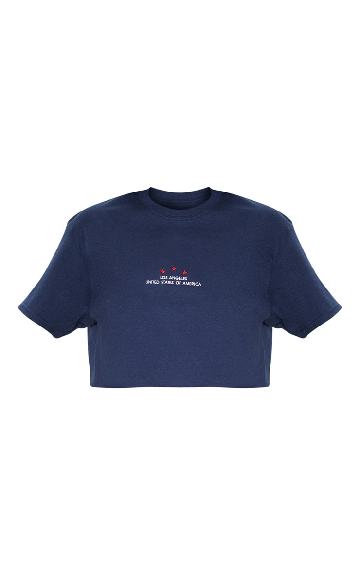 Navy Los Angeles USA Embroidered Slogan Crop T Shirt 3