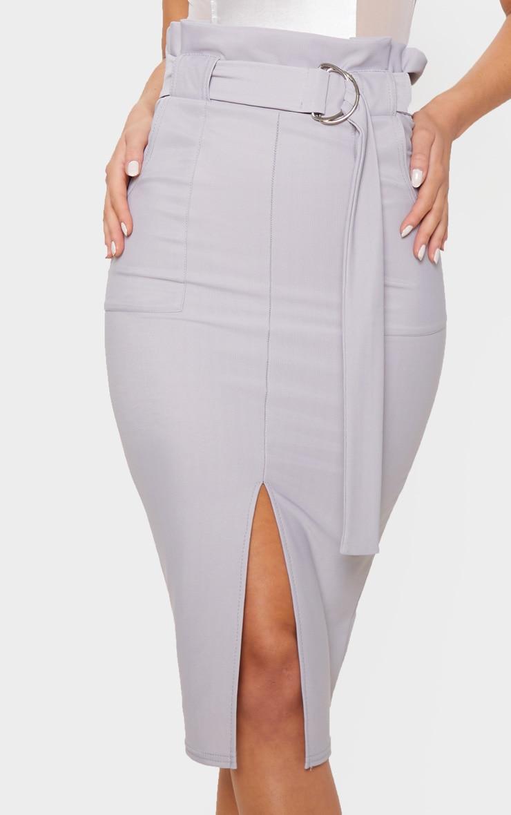Pale Grey Fine Rib Belted Paperbag Midi Skirt 5