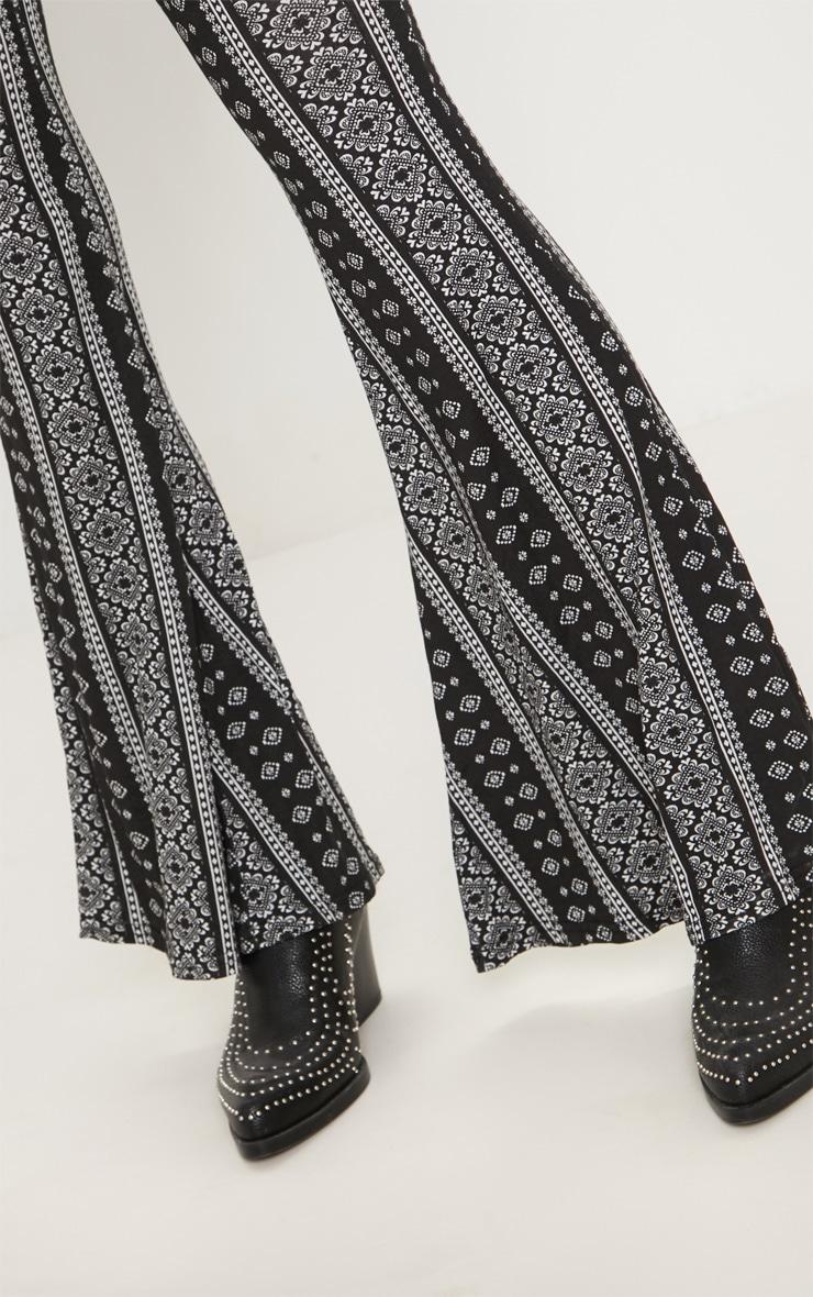 Black Stripe Jersey Printed Flare Trouser 5