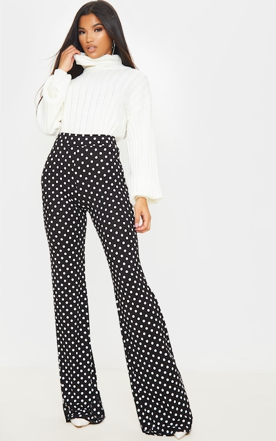 Black Polka Dot Wide Leg Trousers