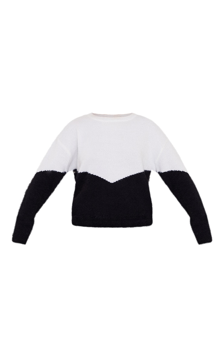 White Colourblock Eyelash Knit Jumper 5