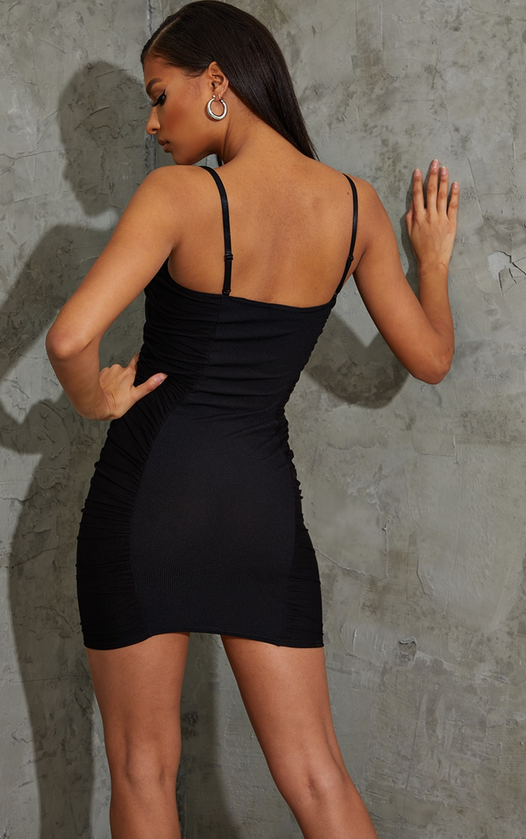 Black Ribbed Mesh Ruched Side Panel Bodycon Dress 2
