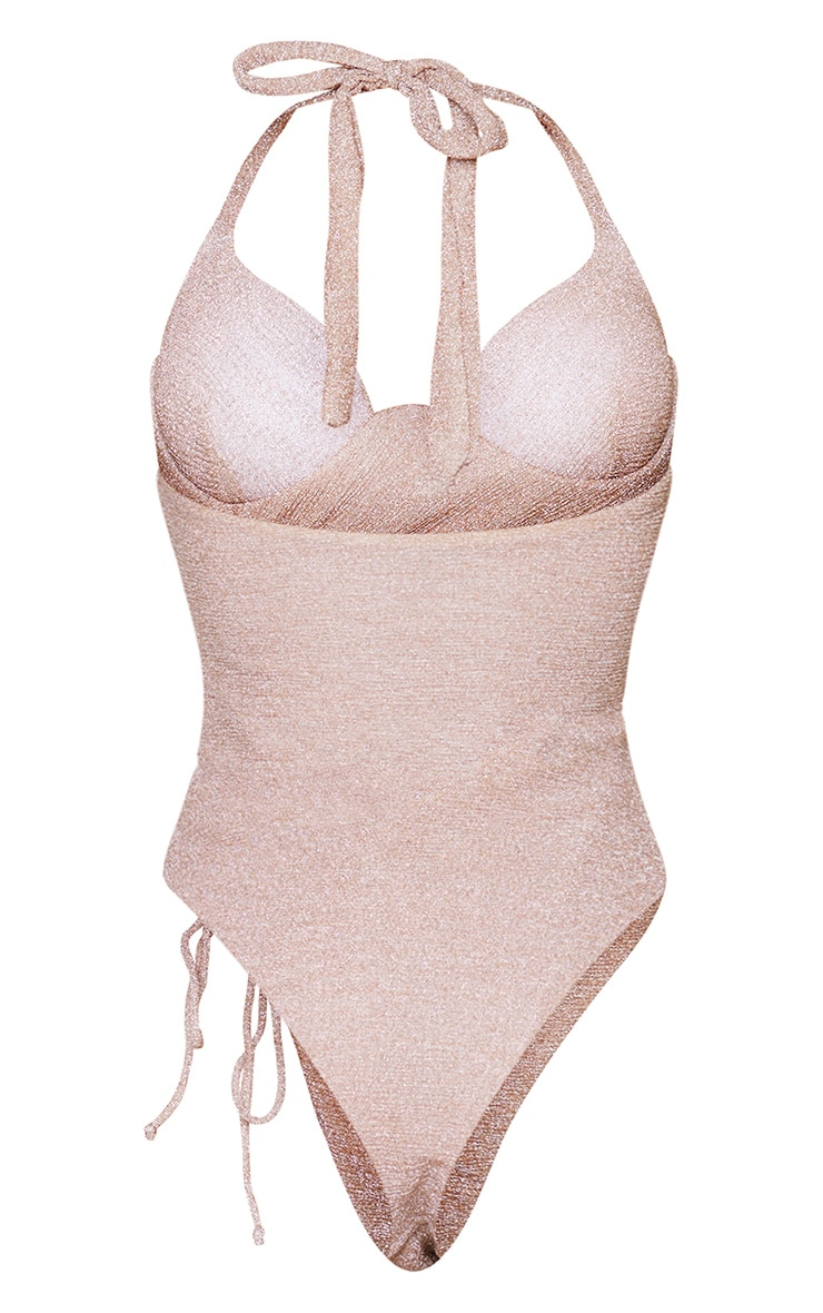 Gold Glitter Ruched Drawstring Cupped Swimsuit 6