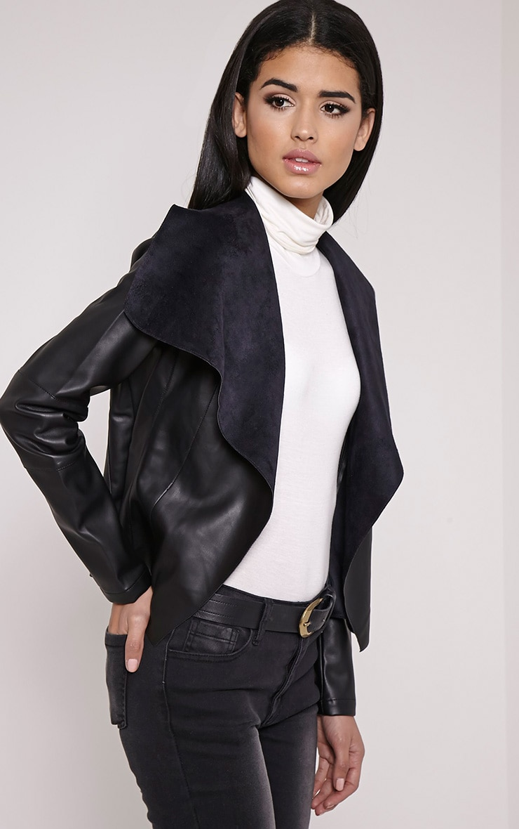 Mischa Black Faux Leather Waterfall Jacket 4