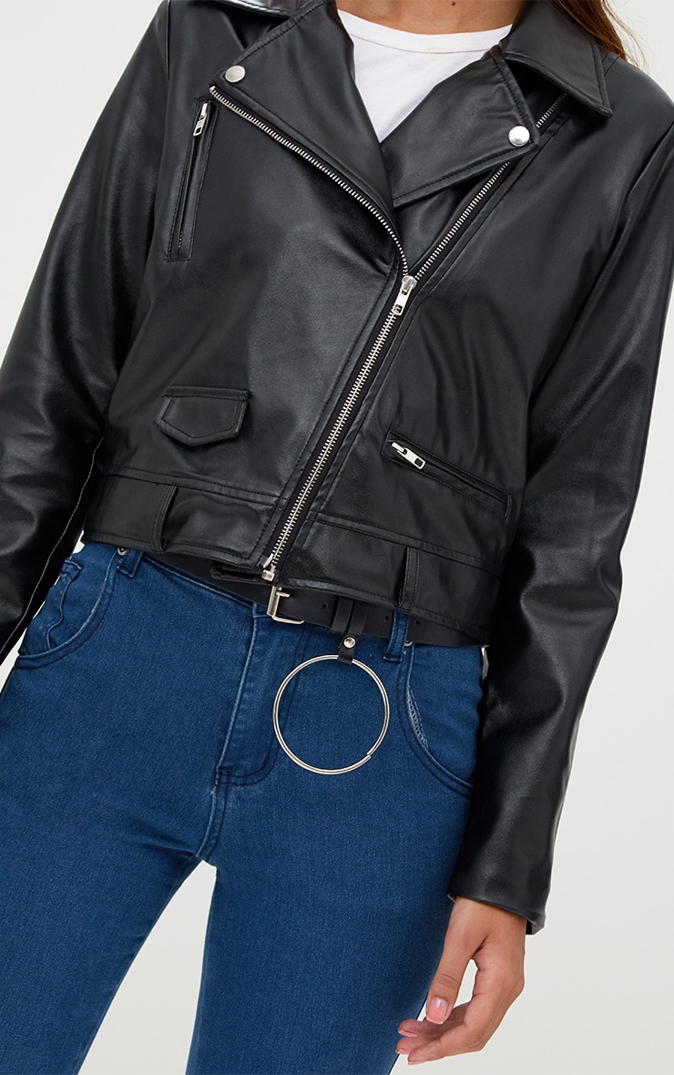 Black PU Biker Jacket With Pockets 4