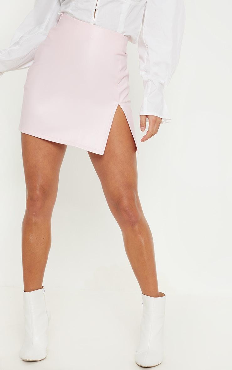 Petite Baby Pink  PU Side Split Mini Skirt 2