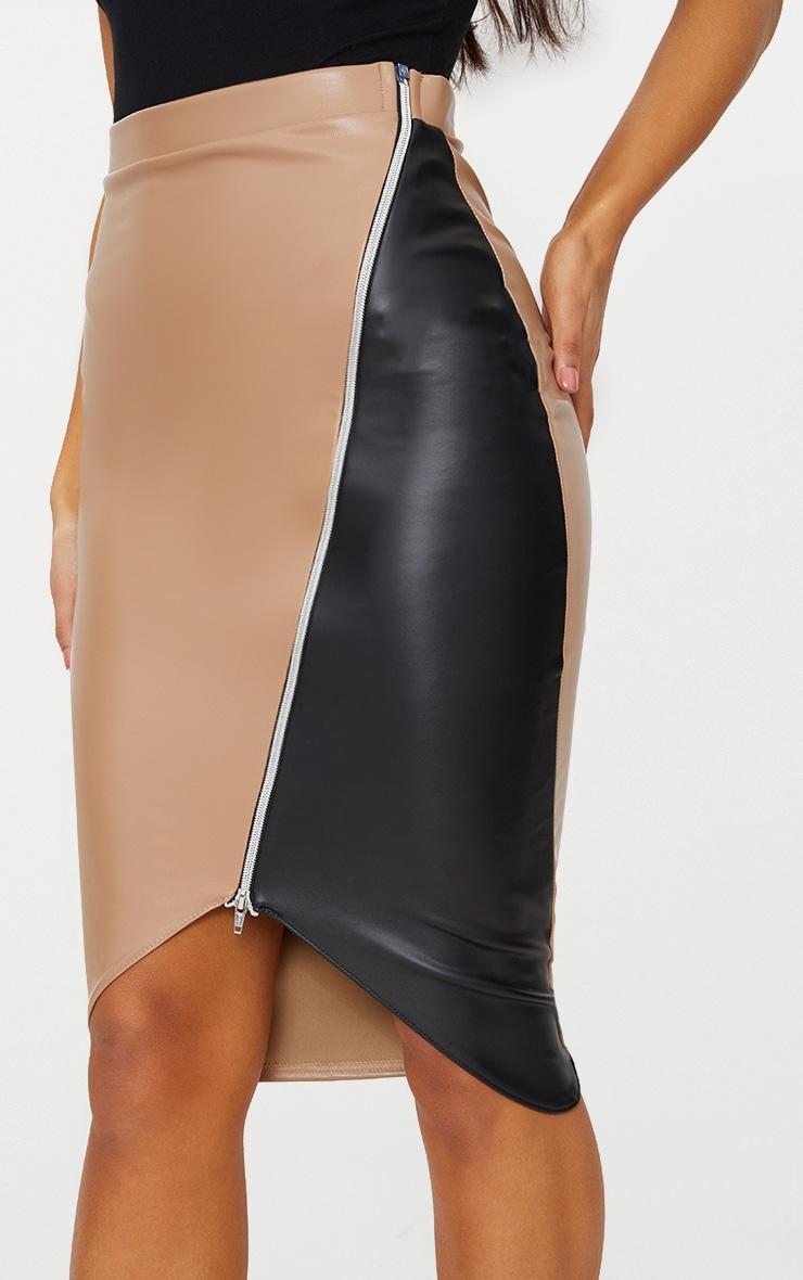 Stone Faux Leather Asymmetric Zip Midi Skirt 5