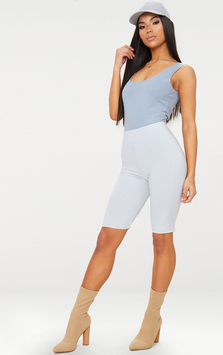 Pale Blue Slinky Longline Cycle Short