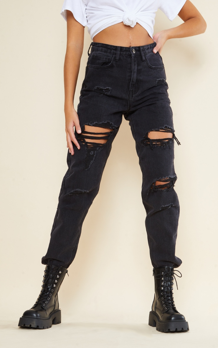 PRETTYLITTLETHING Tall Washed Black Ripped Mom Jeans 2