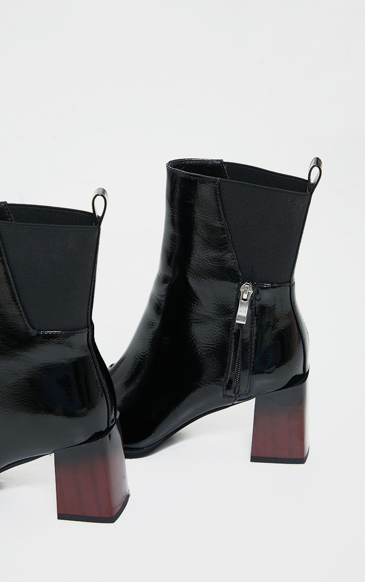 Black Zip Detail Patent Ombre Ankle Heeled Boots 4