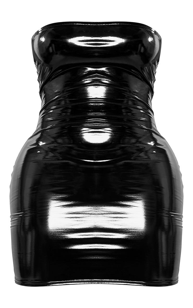 Shape Black Vinyl Bandeau Bodycon Dress 6