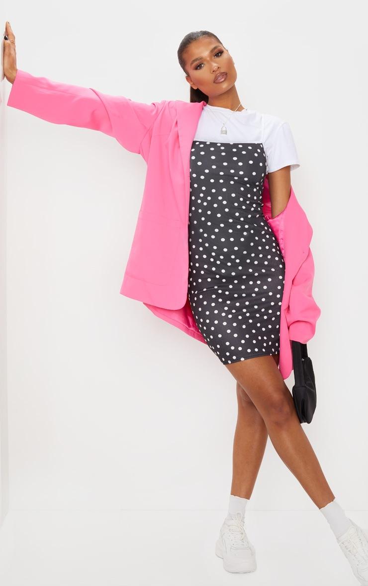 Black Polka Dot Contrast Strap Bodycon Dress 3