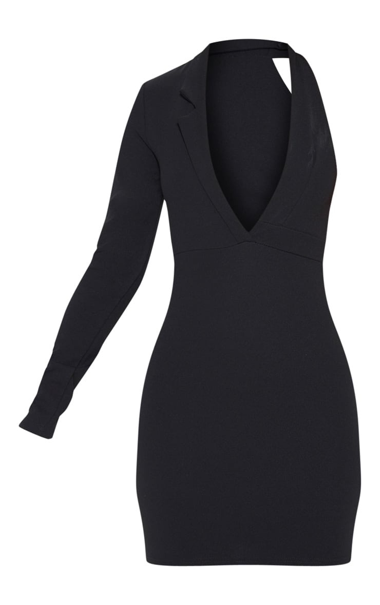 Black Cut Out One Shoulder Blazer Dress 3