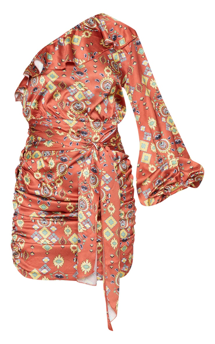 Brown One Sleeve Ruched Printed Bodycon Dress 3