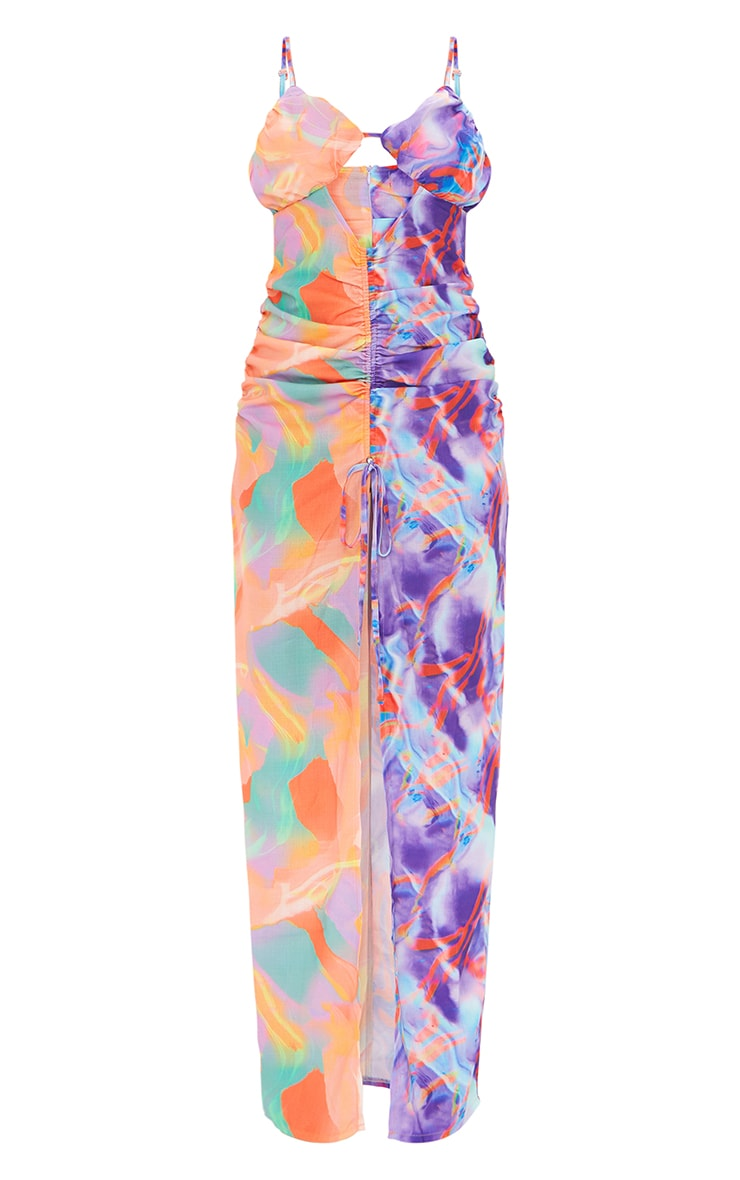Multi Contrast Abstract Print Strappy Ruched Split Maxi Dress 5