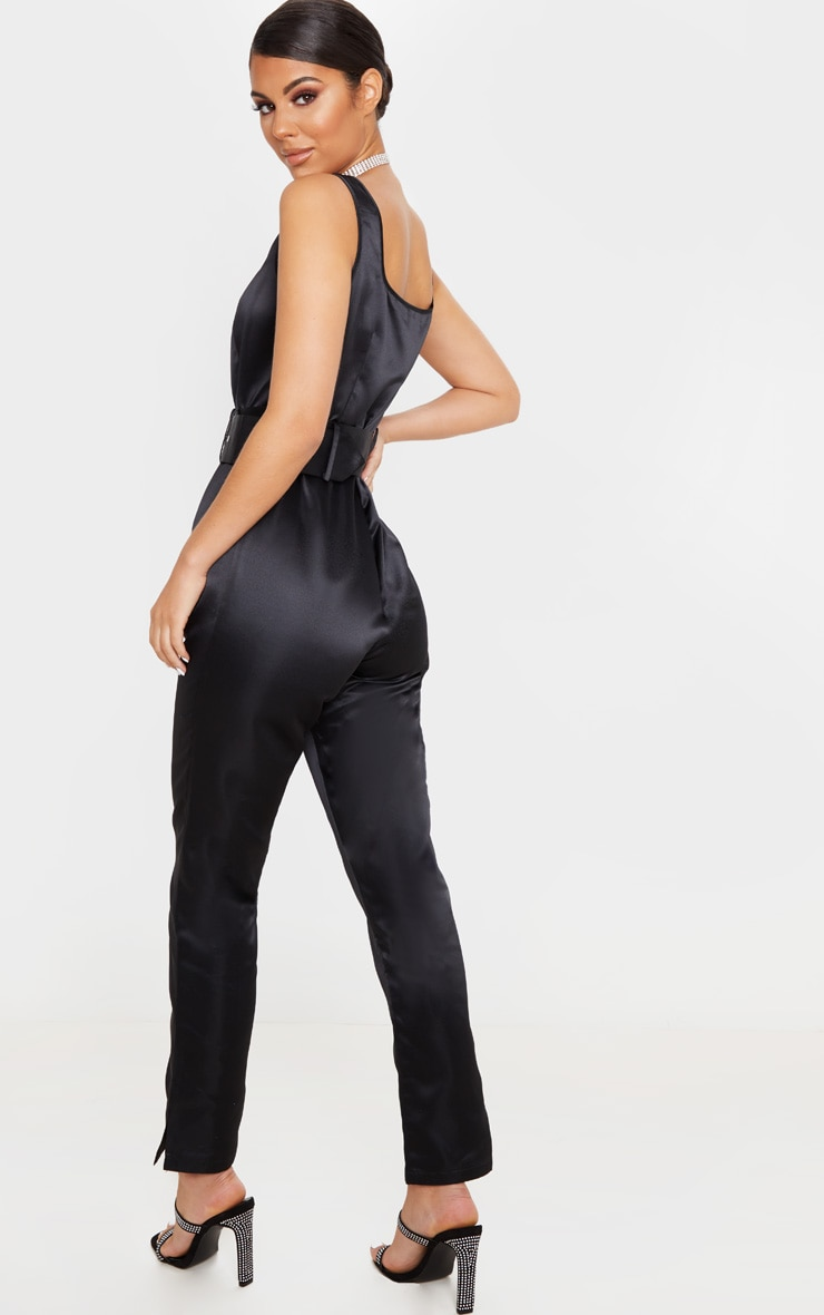 Black Bonded Satin Belt Detail Jumpsuit 2