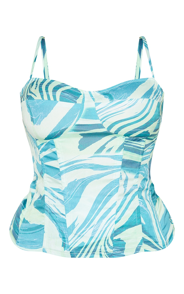 Plus Blue Abstract Print Structured Corset Top 5