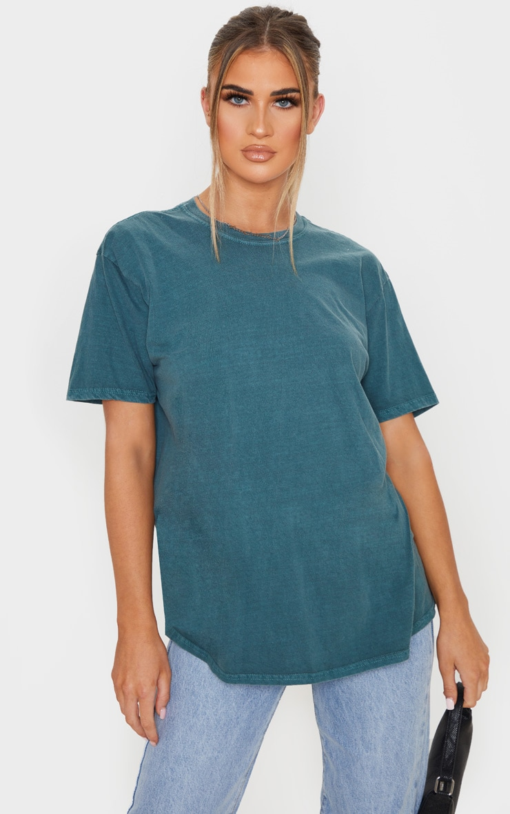 Teal Washed Oversized T Shirt 1