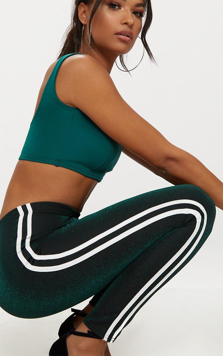 Khaki Glitter Track Stripe Leggings 5