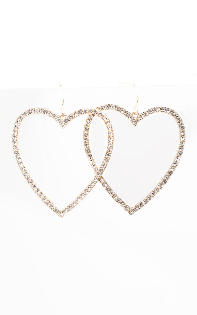Crystal Diamante Heart Drop Earrings 2