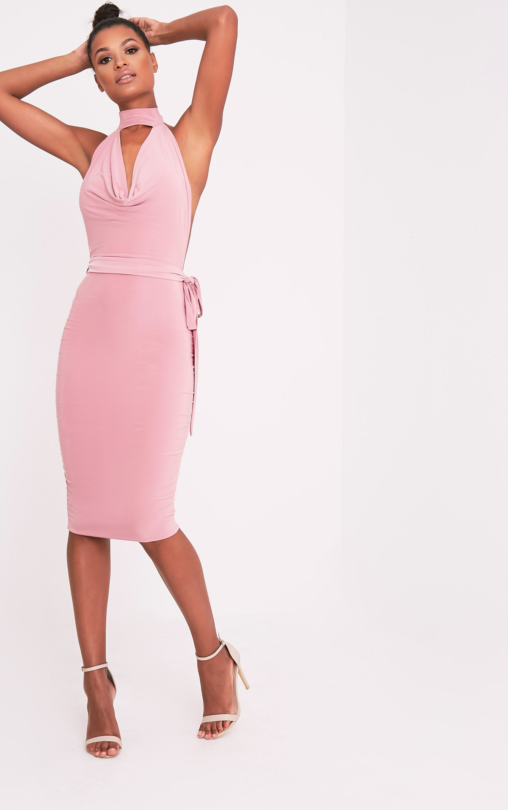 Carllia Pale Pink Slinky Choker Neck Cowl Midi Dress 1