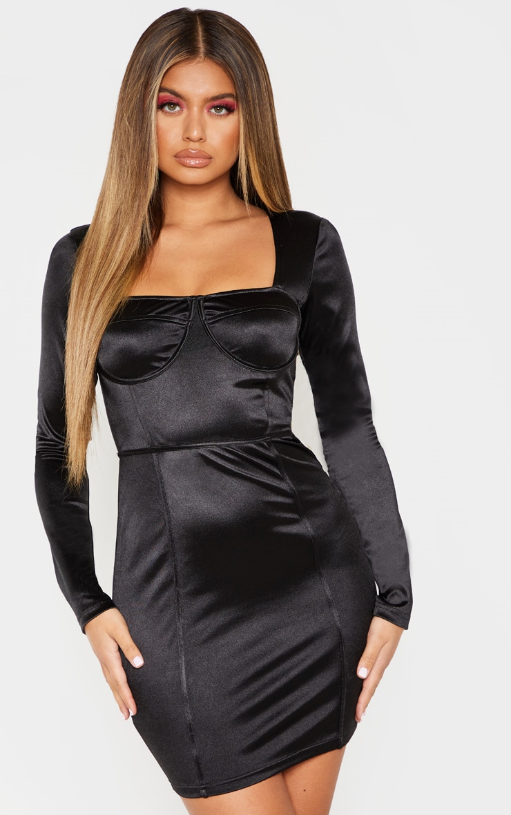 Black Satin Cup Detail Bodycon Dress 4